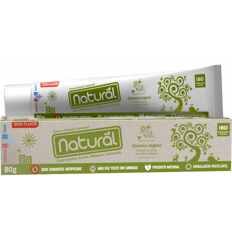 Creme Dental Suavetex Natural com ingredientes orgânicos e naturais 80g.